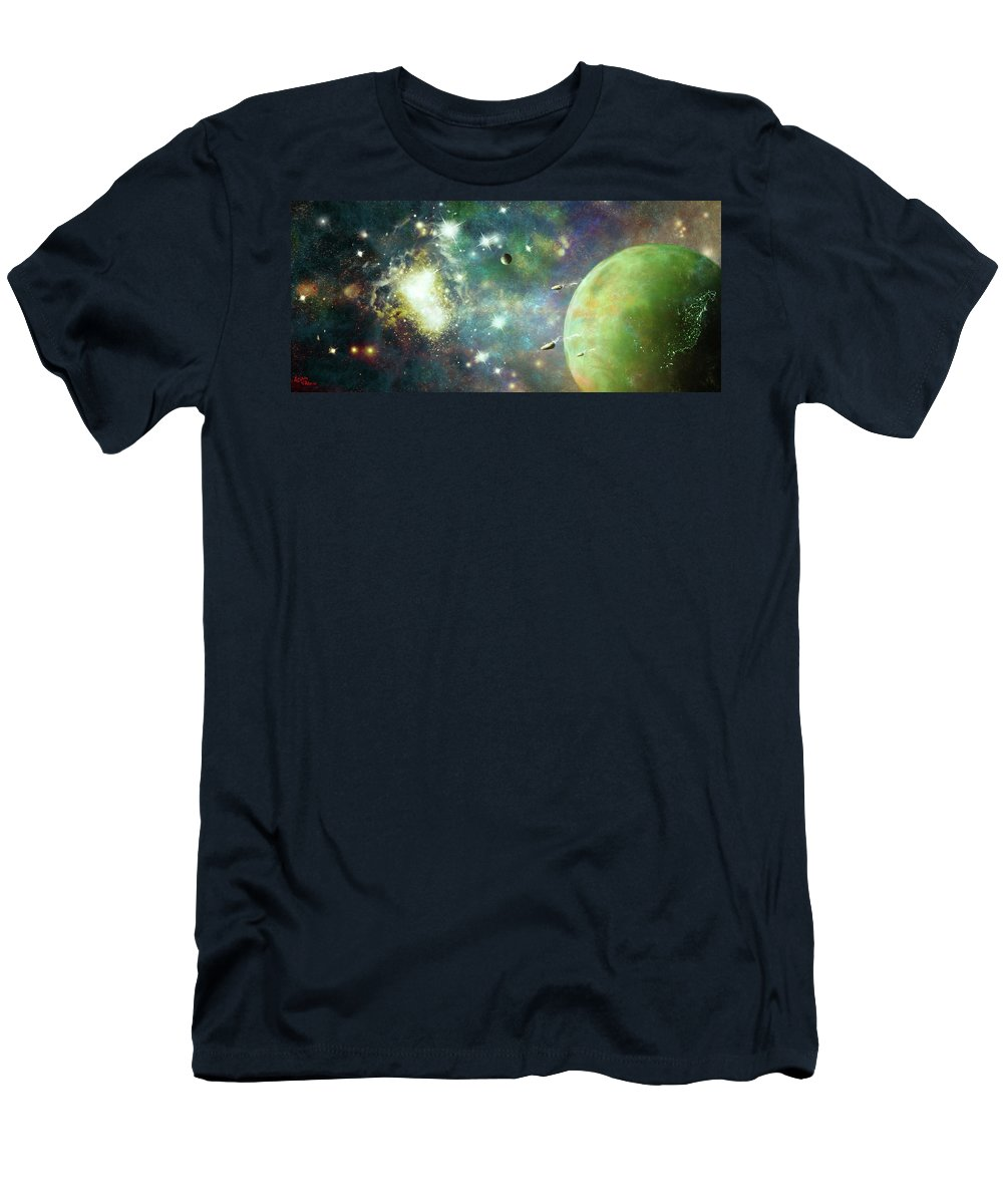 Space Men's T-Shirt (Athletic Fit) featuring the digital art What's Out There by Adam Vance