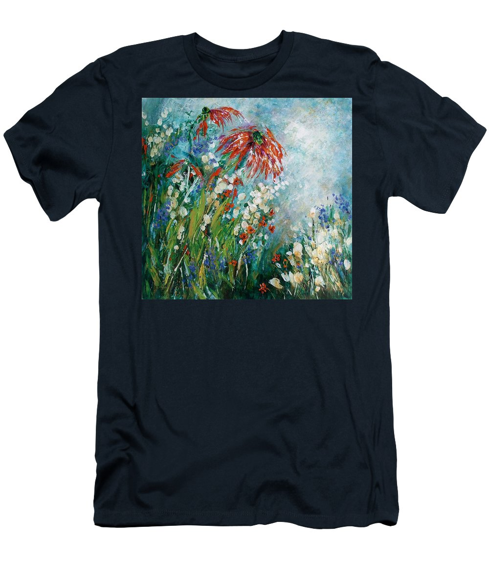 Outdoor Floral Men's T-Shirt (Athletic Fit) featuring the painting Whispering Charms by Ann Pollard