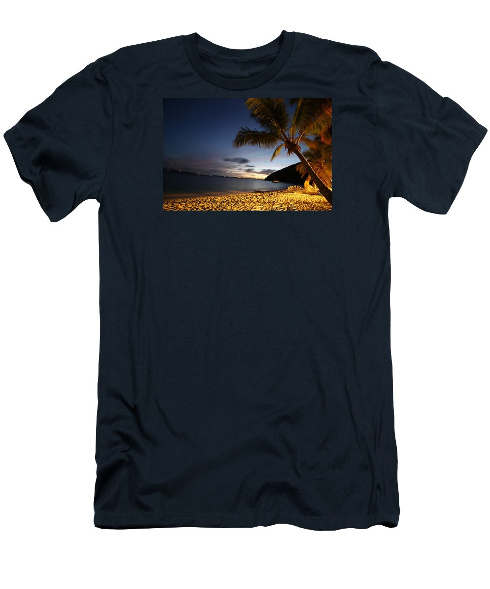 Late Night Walk On The Beach Men's T-Shirt (Athletic Fit) featuring the pyrography White Bay by Leon Miller