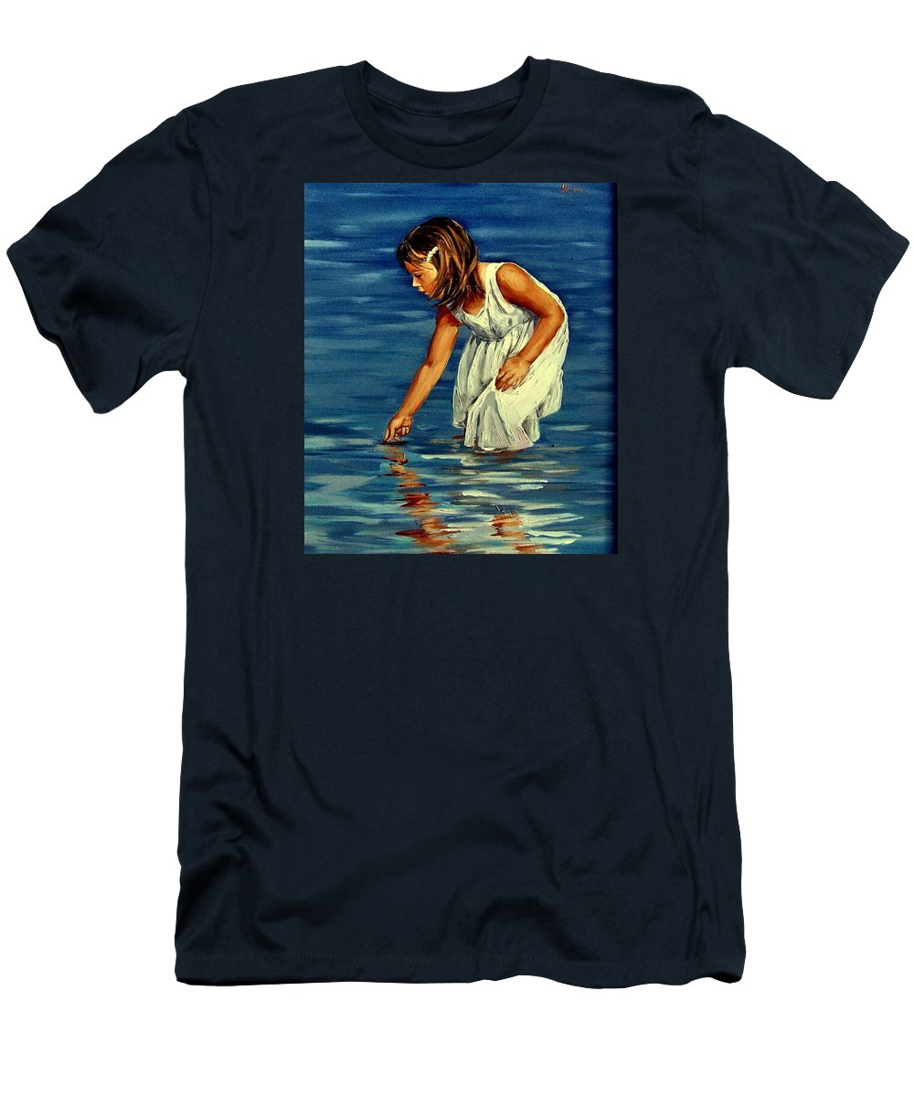 Girl Men's T-Shirt (Athletic Fit) featuring the painting White Dress by Natalia Tejera