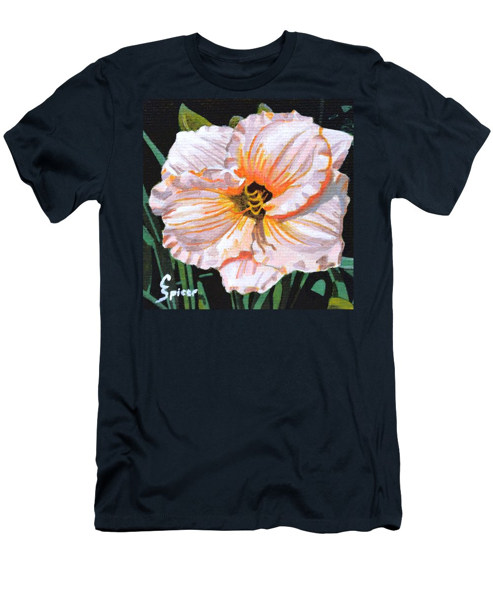 White Men's T-Shirt (Athletic Fit) featuring the painting White Hibiscus by Christopher Spicer