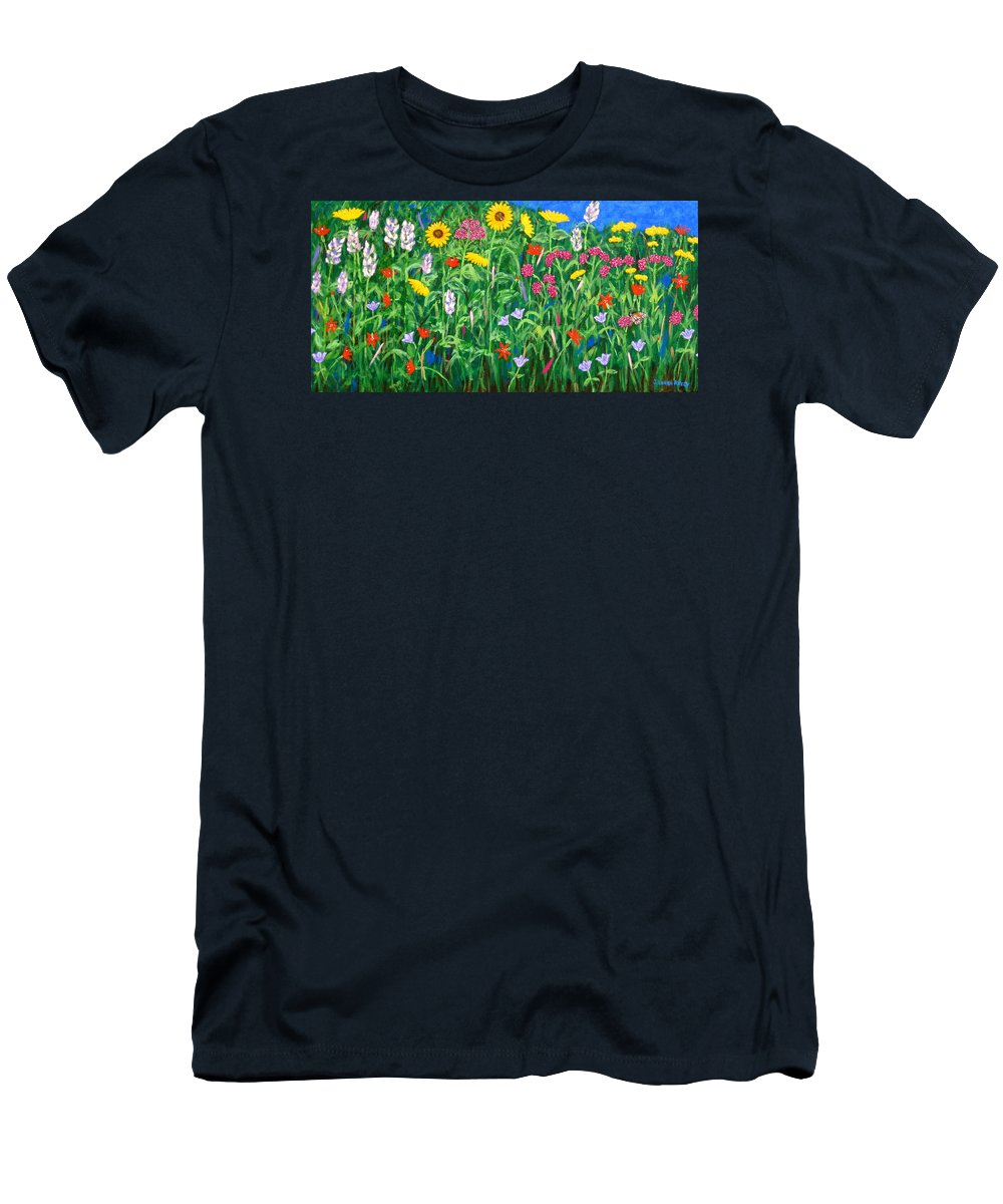 Wildflowers Painting Men's T-Shirt (Athletic Fit) featuring the painting Wildflowers by J Loren Reedy