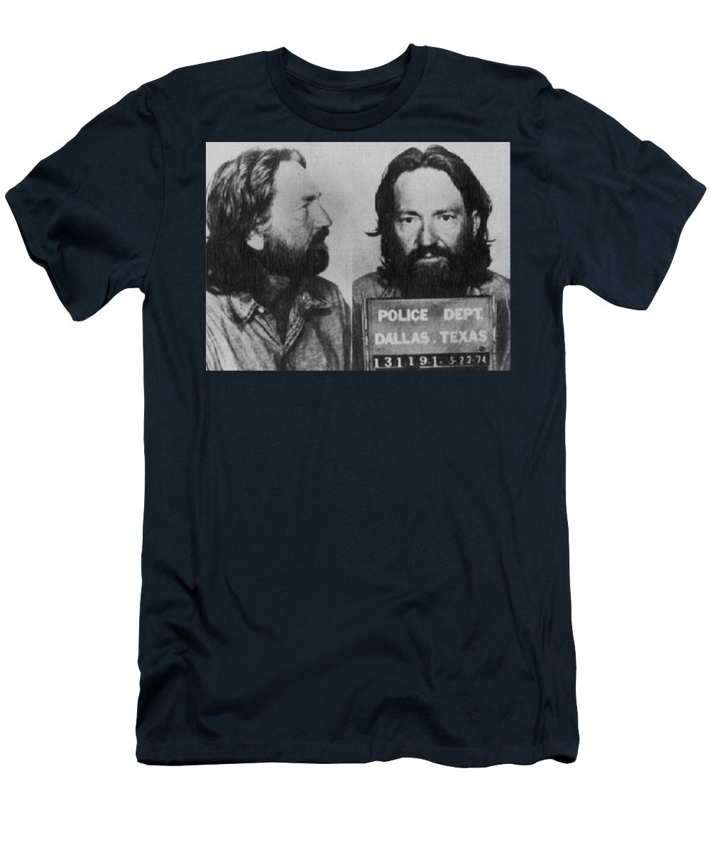 Willie Nelson Men's T-Shirt (Athletic Fit) featuring the photograph Willie Nelson Mug Shot Horizontal Black And White by Tony Rubino