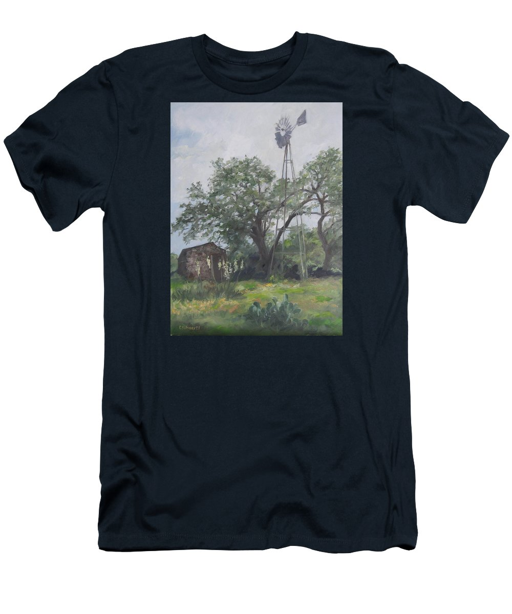 Texas Men's T-Shirt (Athletic Fit) featuring the painting Windmill At Genhaven by Connie Schaertl