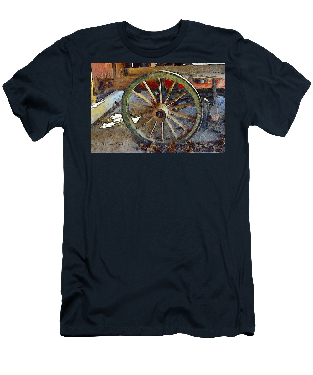 Barbara Snyder Men's T-Shirt (Athletic Fit) featuring the digital art Wine Wagon Wheel by Barbara Snyder