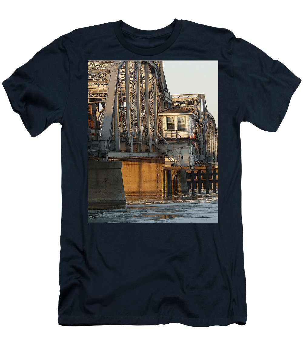 Bridge Men's T-Shirt (Athletic Fit) featuring the photograph Winter Bridgehouse by Tim Nyberg