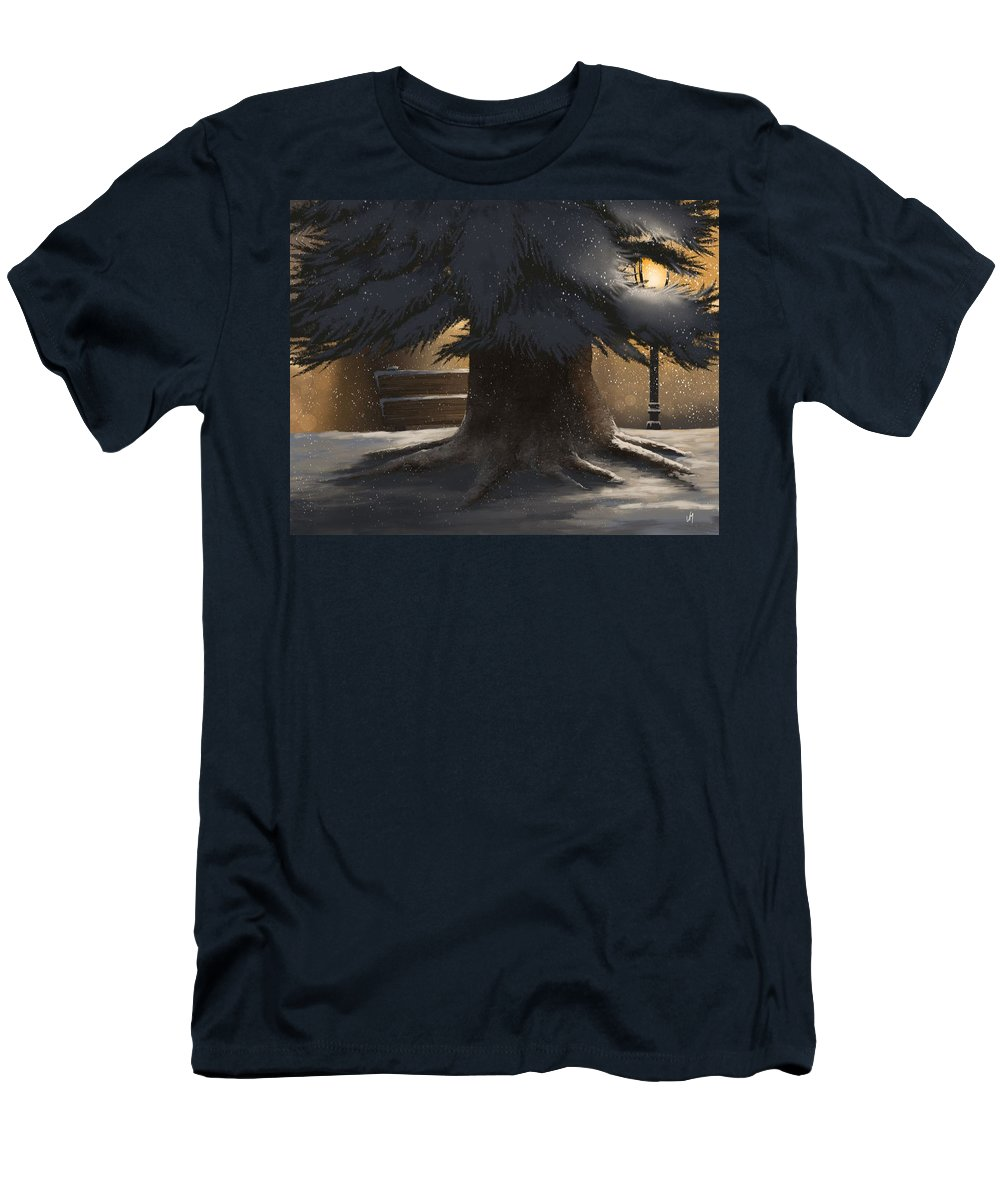 Winter Men's T-Shirt (Athletic Fit) featuring the painting Winter Day by Veronica Minozzi