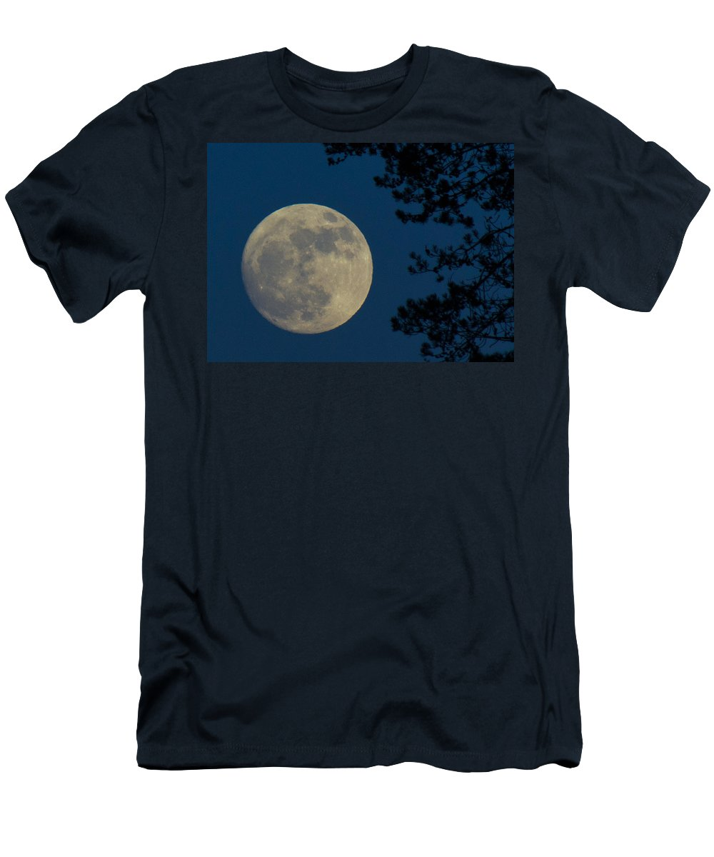 Moon Men's T-Shirt (Athletic Fit) featuring the photograph Winter Moon by Randy Hall