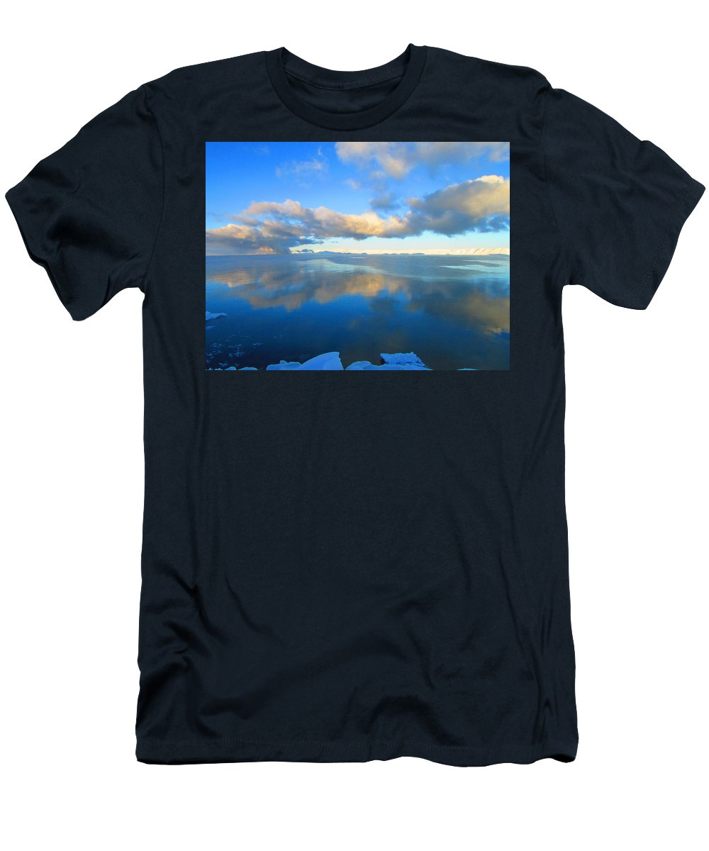 Bear Lake Utah Men's T-Shirt (Athletic Fit) featuring the photograph Winter's Refection by Carol Dyer
