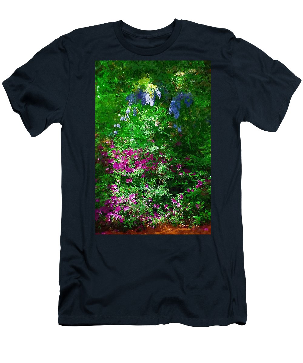 Landscape Men's T-Shirt (Athletic Fit) featuring the photograph Wisteria And Azaleas by Donna Bentley