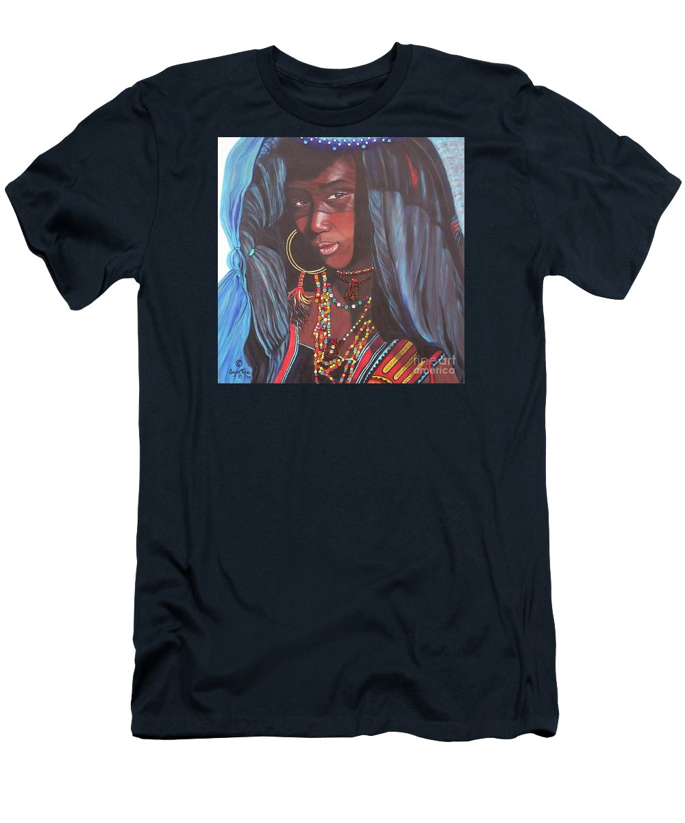 African Girl Men's T-Shirt (Athletic Fit) featuring the painting Virtuous Wodaabe Girl     From The Attitude Girls by Sigrid Tune