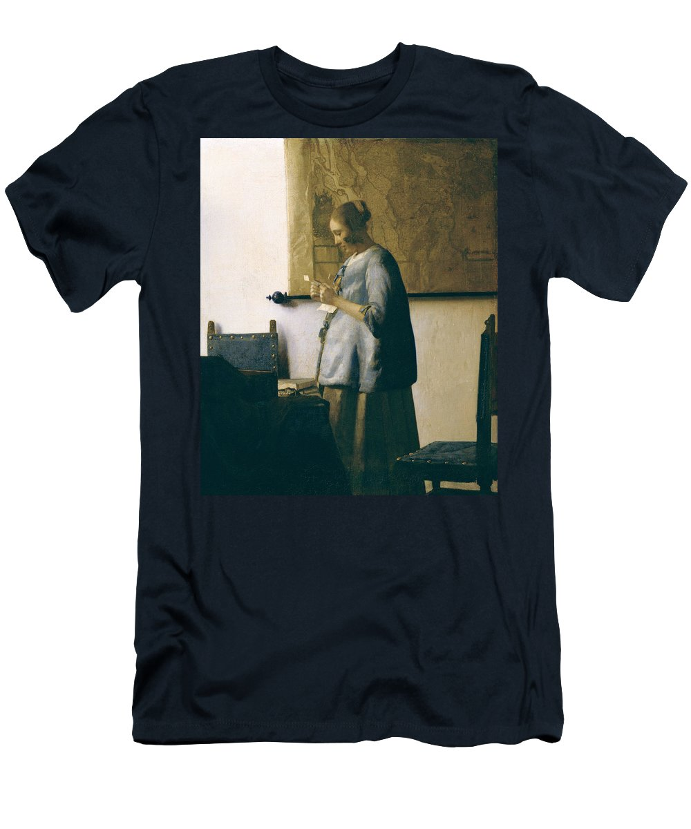 Woman Reading A Letter Men's T-Shirt (Athletic Fit) featuring the painting Woman Reading A Letter by Jan Vermeer