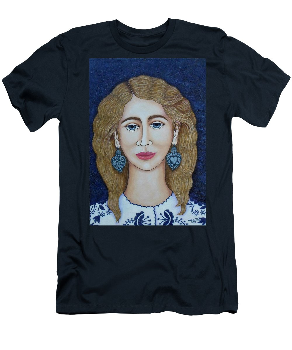 Woman Men's T-Shirt (Athletic Fit) featuring the painting Woman With Silver Earrings by Madalena Lobao-Tello