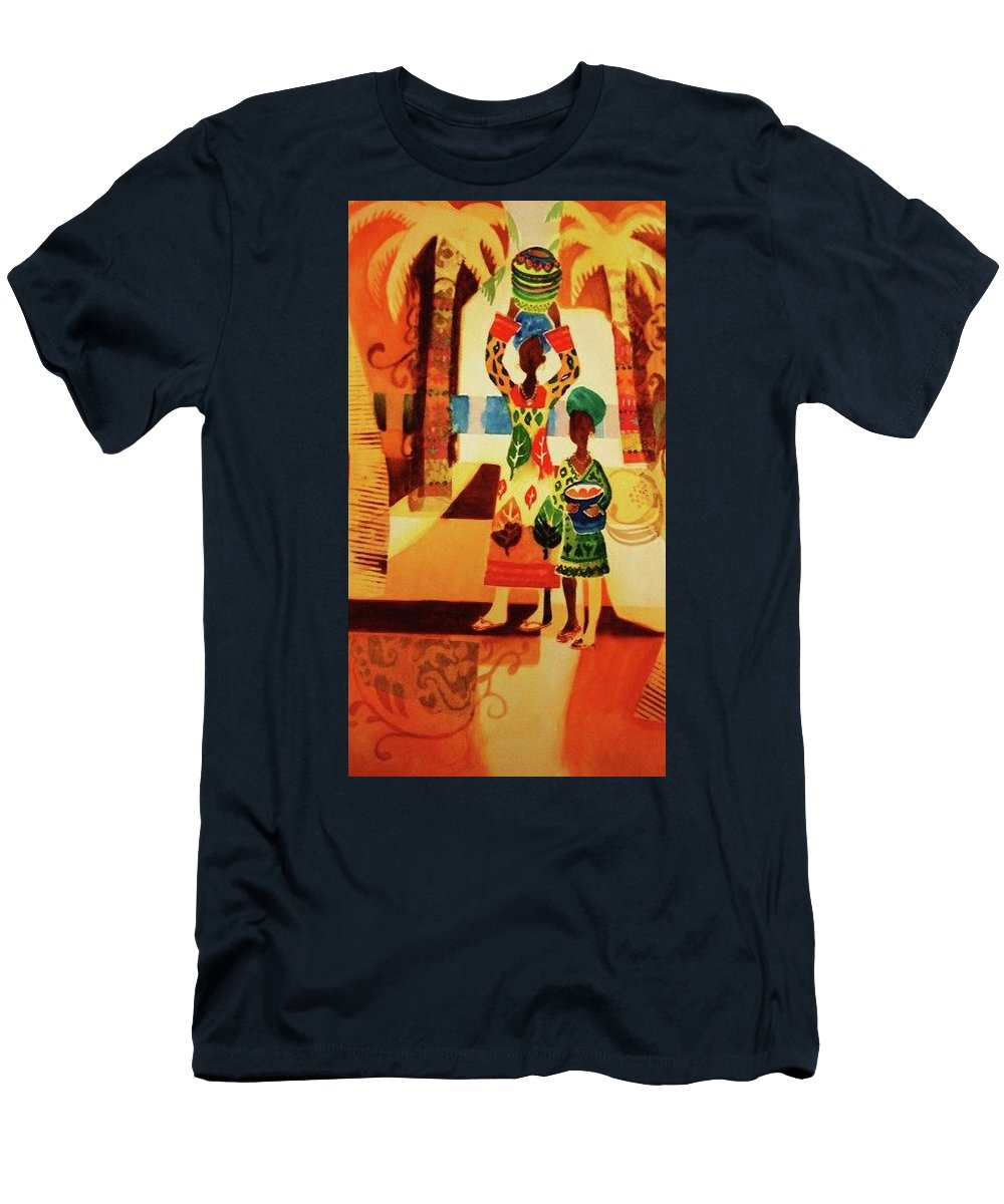 Women Men's T-Shirt (Athletic Fit) featuring the painting Women With Baskets by Marilyn Jacobson