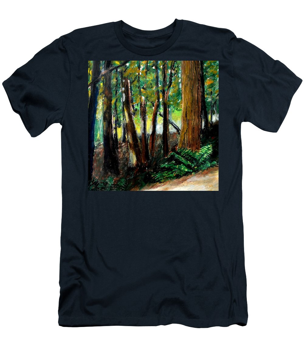 Livingston Trail Men's T-Shirt (Athletic Fit) featuring the drawing Woodland Trail by Michelle Calkins