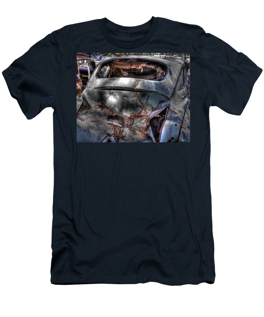 Men's T-Shirt (Athletic Fit) featuring the photograph Wrecking Yard Study 2 by Lee Santa