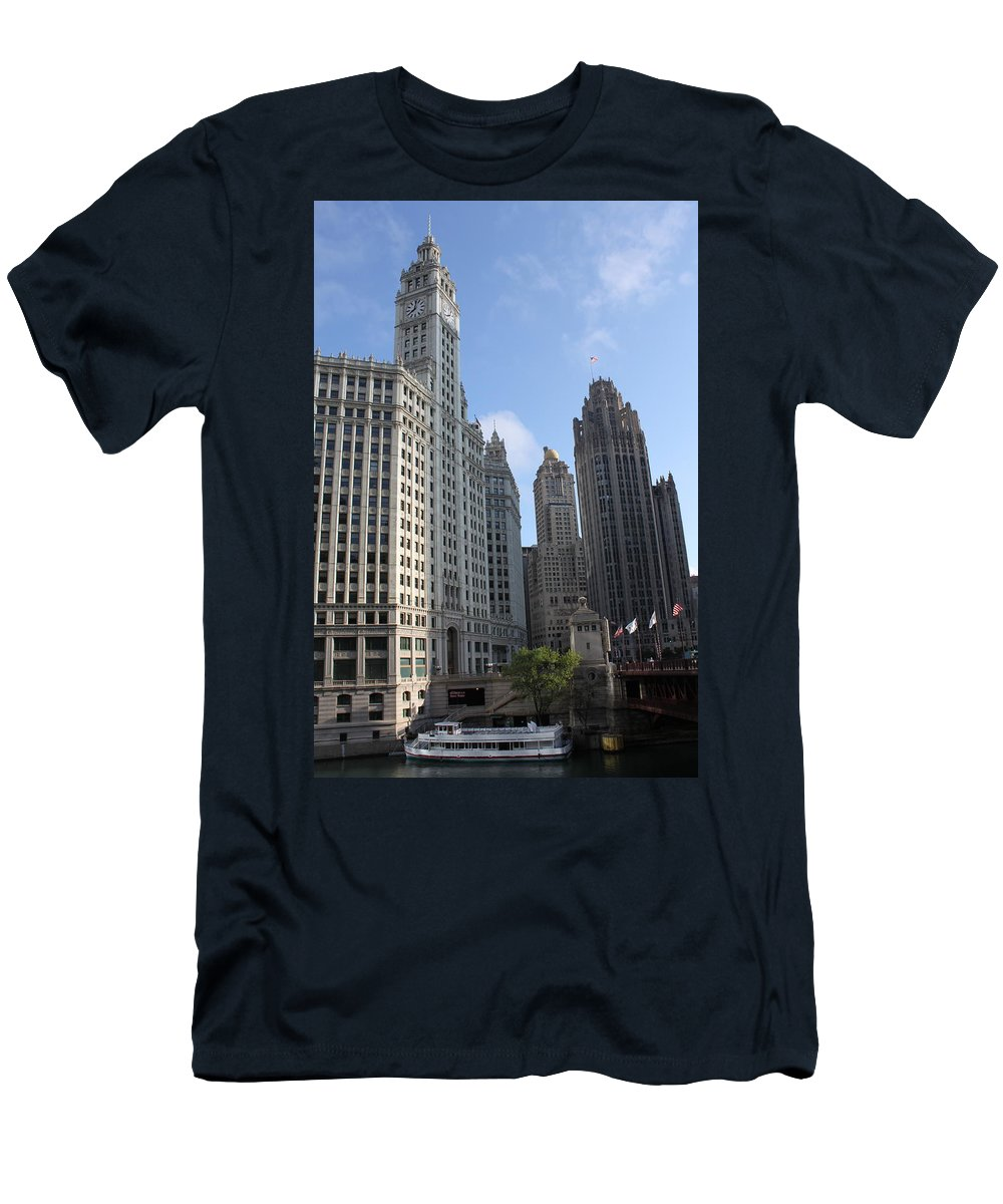 Chicago Men's T-Shirt (Athletic Fit) featuring the photograph Wrigley And Tribune Tower by Lauri Novak