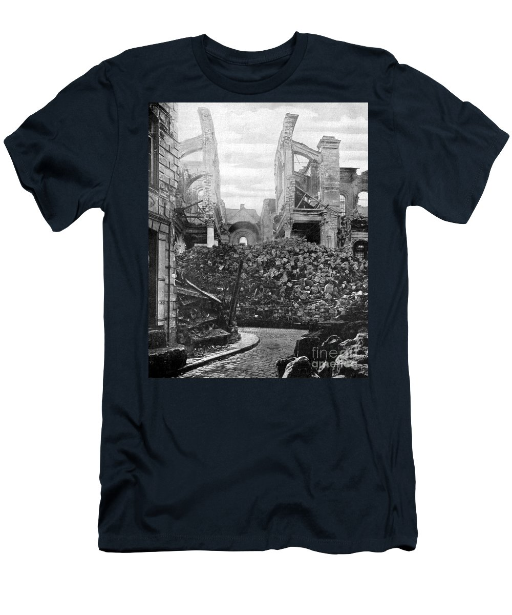 History Men's T-Shirt (Athletic Fit) featuring the photograph Wwi, Ruins Of Arras Cathedral by Science Source