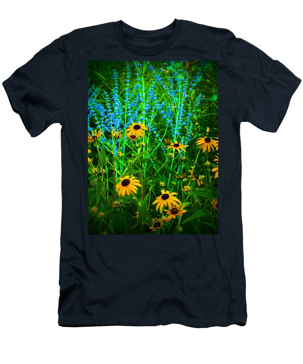 Flowers Men's T-Shirt (Athletic Fit) featuring the photograph Yellow And Blue by Tara Turner