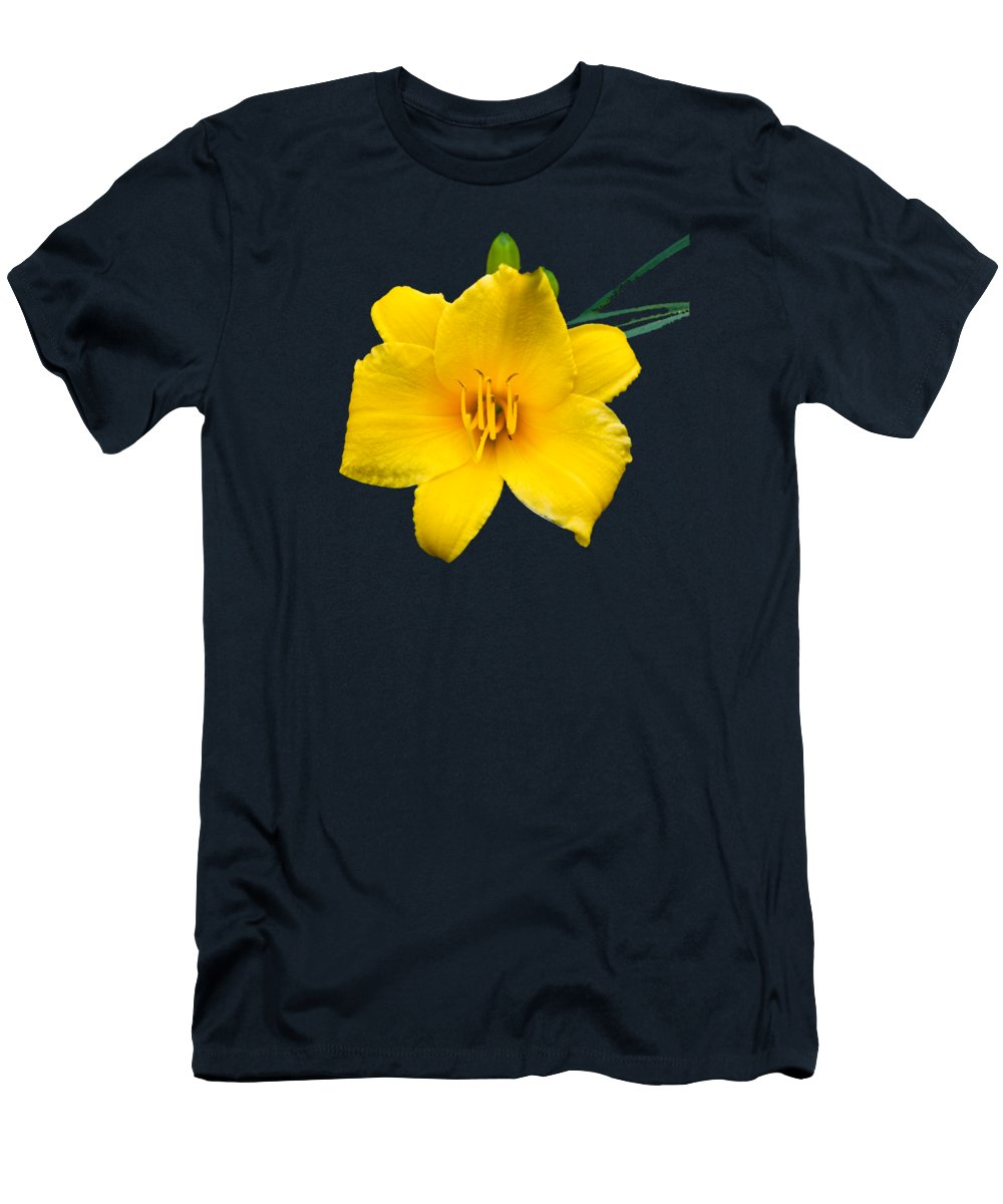 Yellow Men's T-Shirt (Athletic Fit) featuring the photograph Yellow Daylily Flower by Christina Rollo