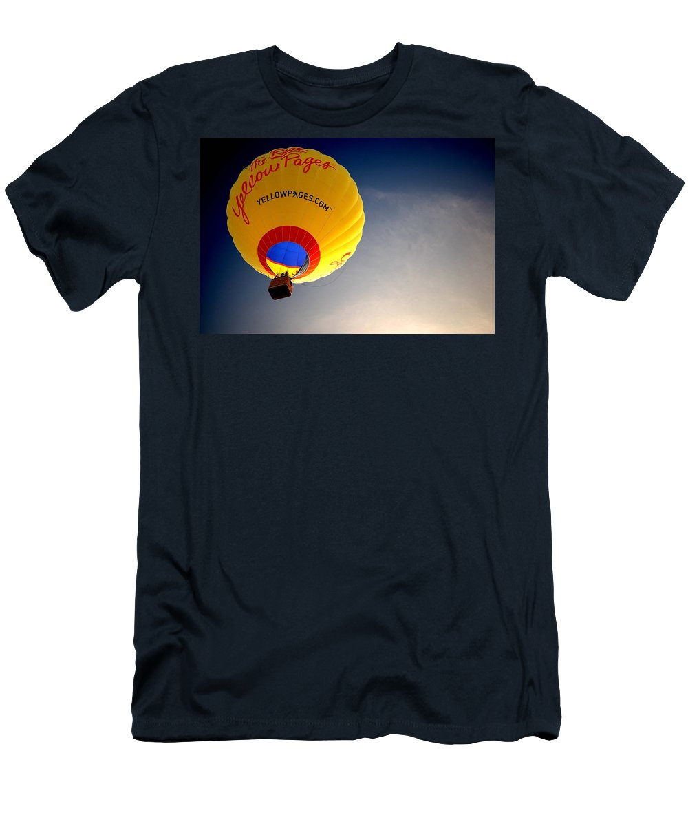 Hot Air Men's T-Shirt (Athletic Fit) featuring the painting Yellow Pages Balloon by Michael Thomas