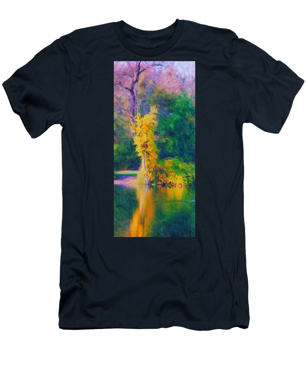 Digital Landscape Men's T-Shirt (Athletic Fit) featuring the digital art Yellow Reflections by David Lane