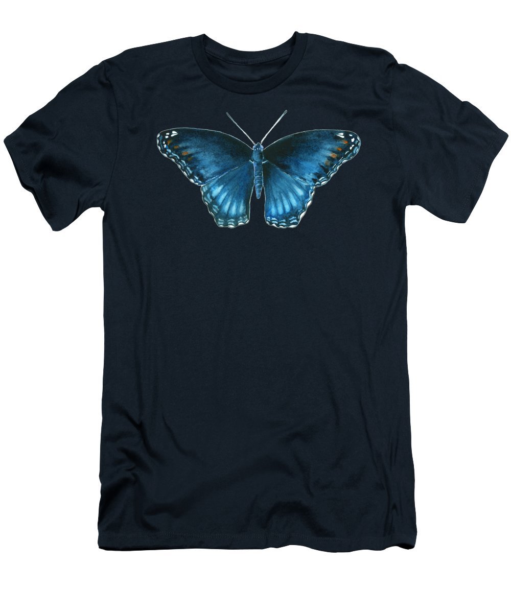 Blue Butterfly Men's T-Shirt (Athletic Fit) featuring the painting 113 Brenton Blue Butterfly by Amy Kirkpatrick