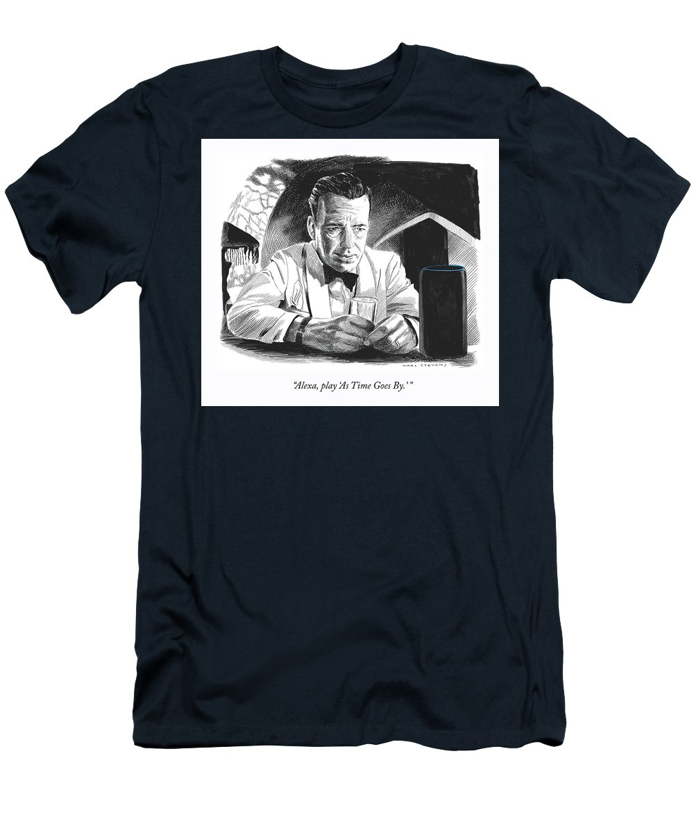 """alexa—play 'as Time Goes By.'"" T-Shirt featuring the drawing As Time Goes By by Karl Stevens"