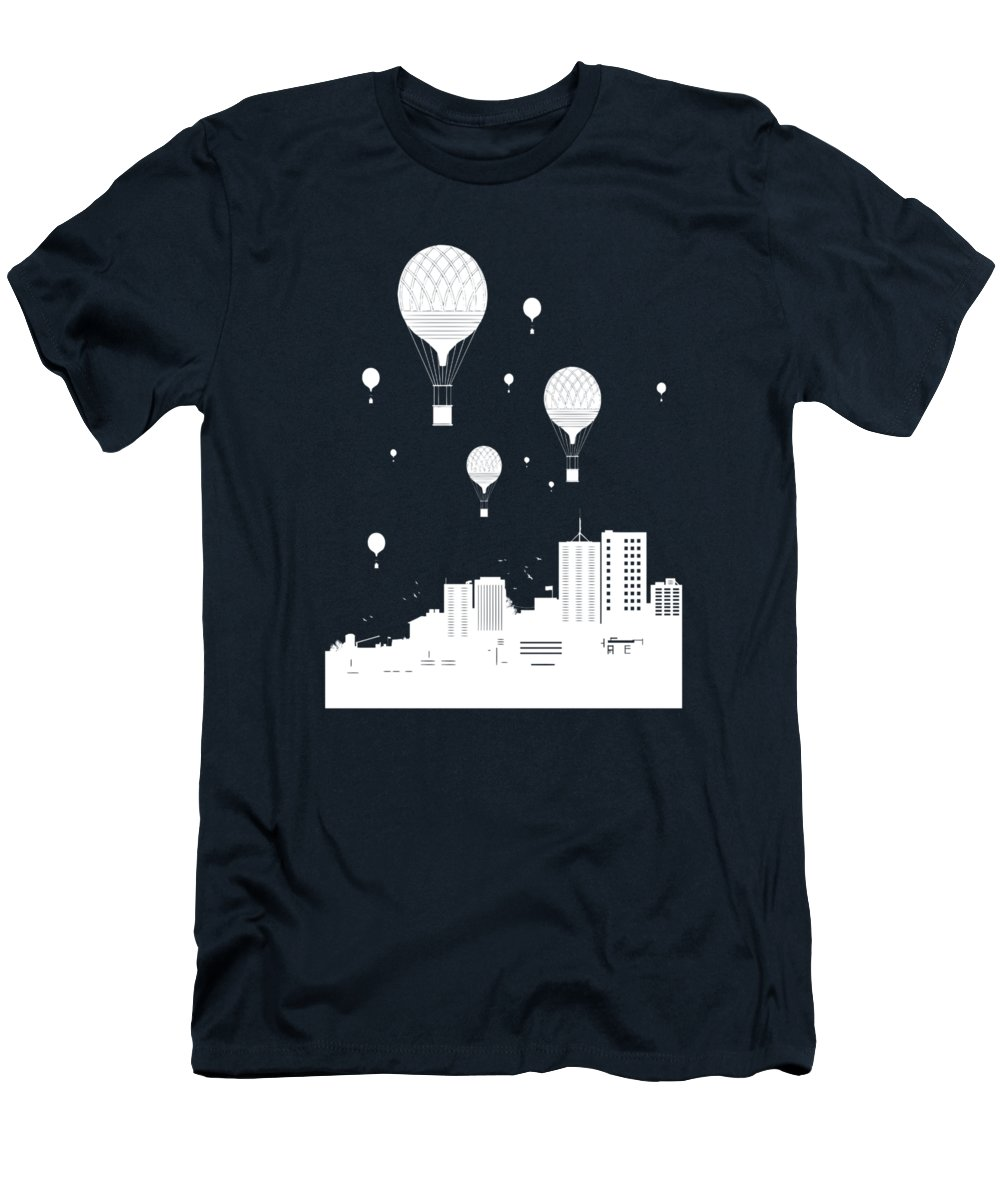 City T-Shirt featuring the mixed media Balloons and the city by Balazs Solti