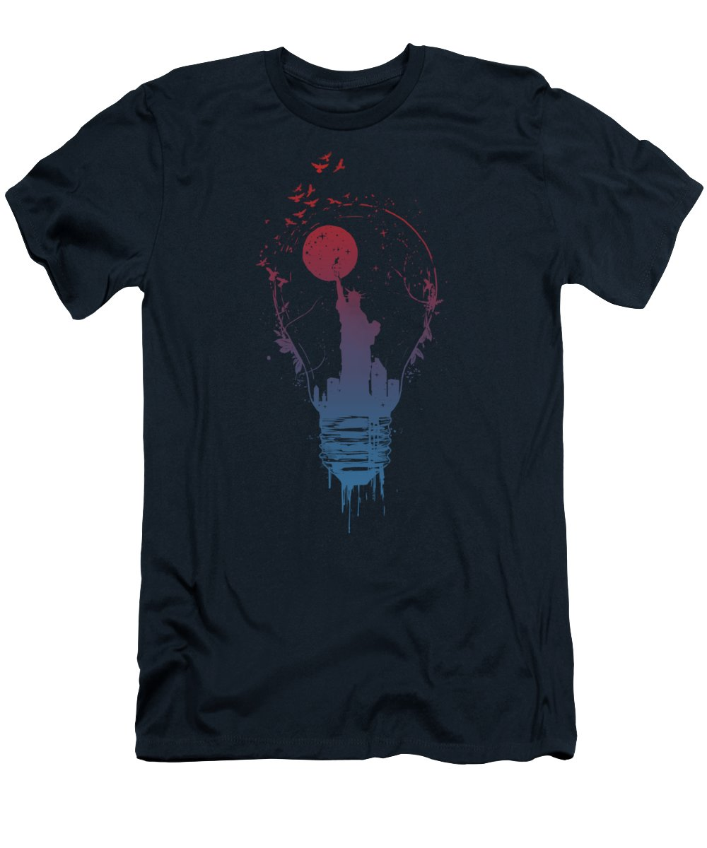 Light T-Shirt featuring the mixed media Big city lights by Balazs Solti