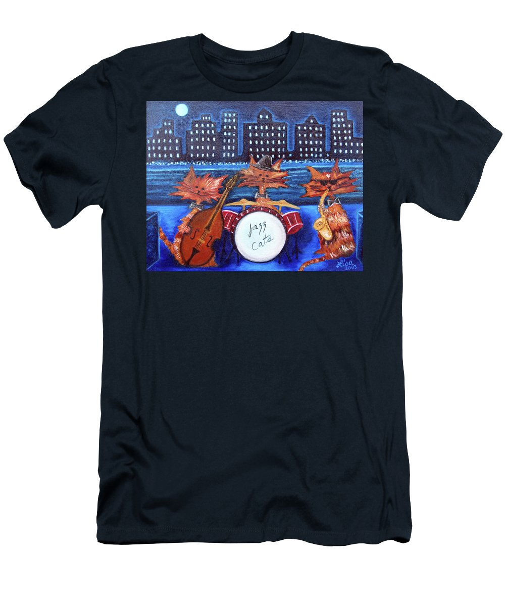 Cats T-Shirt featuring the painting Jazz Cats by Lisa Lorenz
