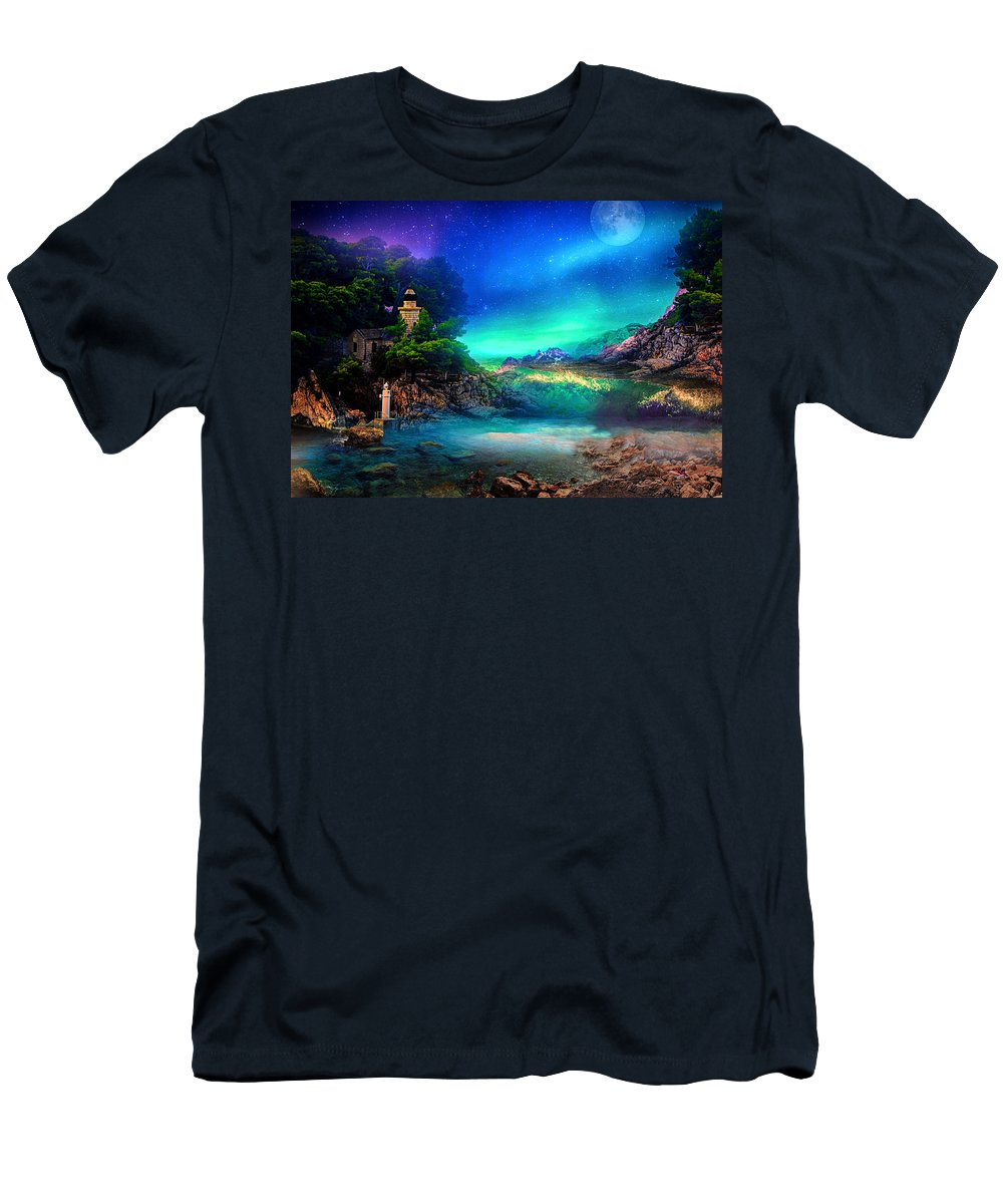 Moon T-Shirt featuring the digital art Left In Peace by Jasmina Seidl