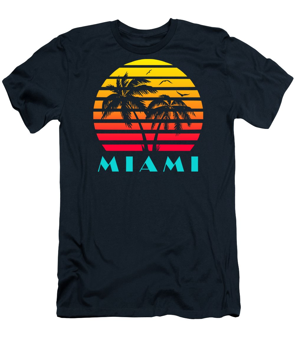 This Cool And Awesome Tee Shirt Features A Classic Vintage Sunset Inspired By Retro Vhs Tapes Of Famous Tv Shows And Movie Posters. Palm Trees And Seagulls In Front Of A Beautiful Tropical Sun That Glows In Yellow T-Shirt featuring the digital art Miami 80s Tropical Sunset by Filip Hellman