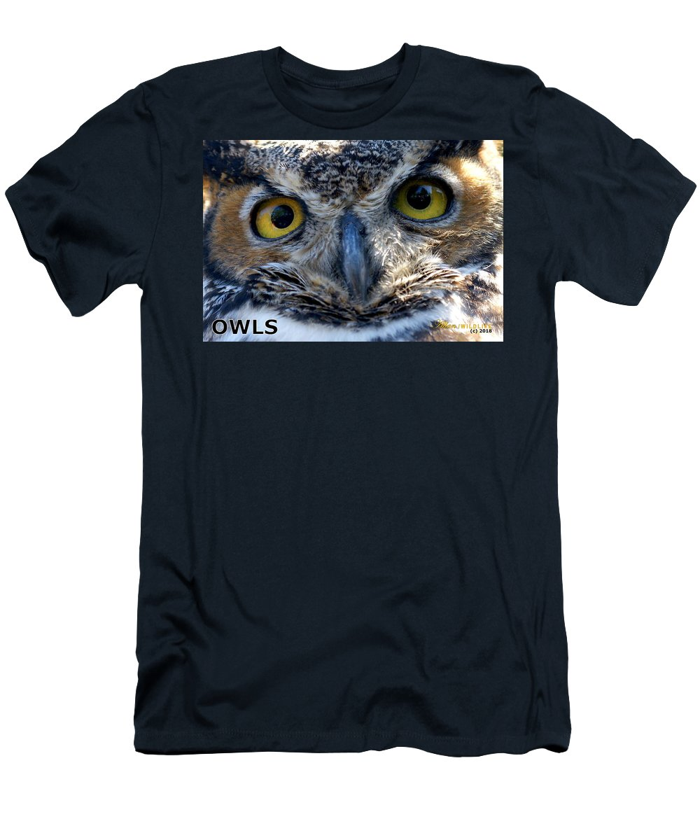 Owls Men's T-Shirt (Athletic Fit) featuring the photograph Owls Mascot 3 by Larry Allan