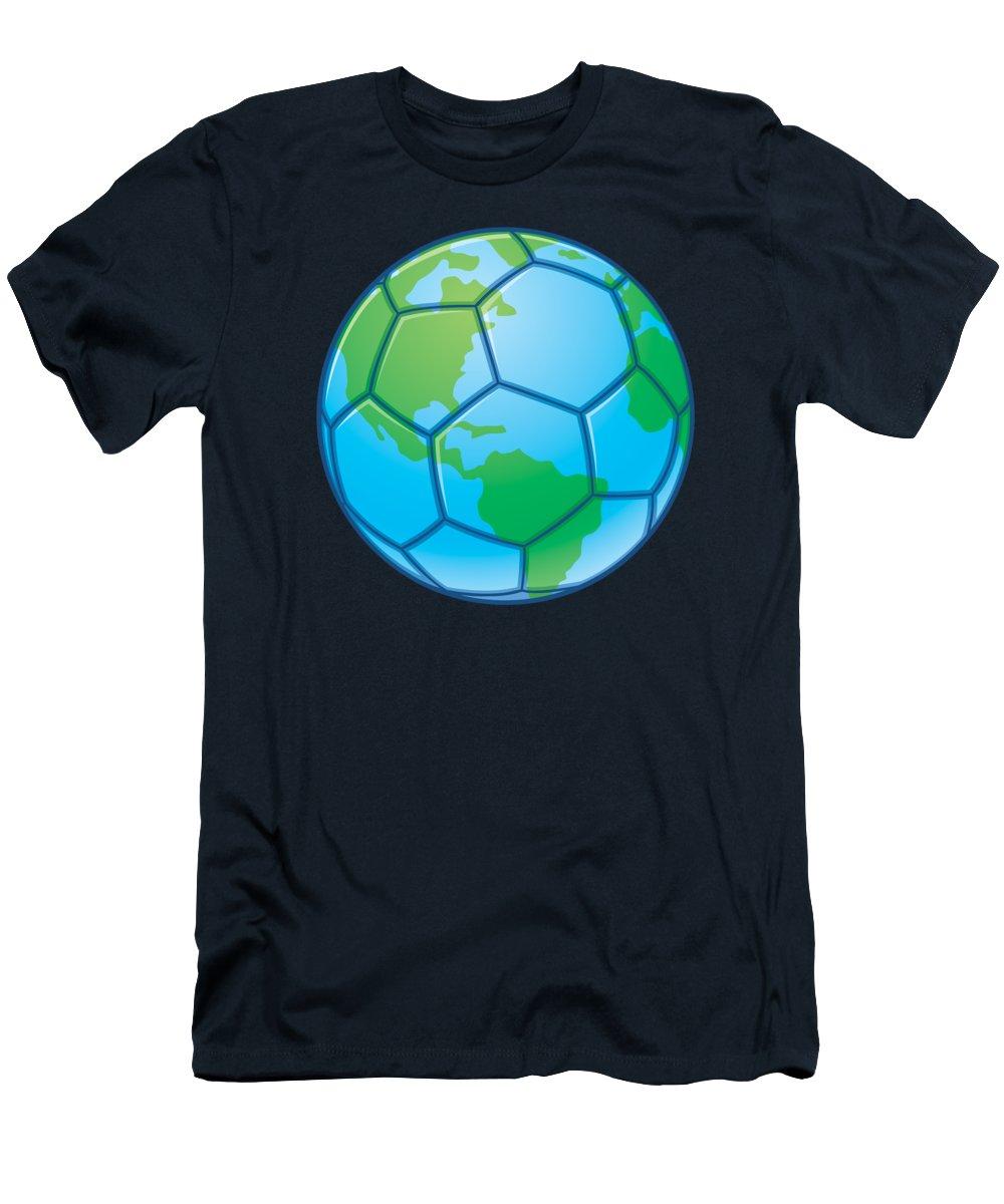 Vector T-Shirt featuring the digital art Planet Earth World Cup Soccer Ball by John Schwegel