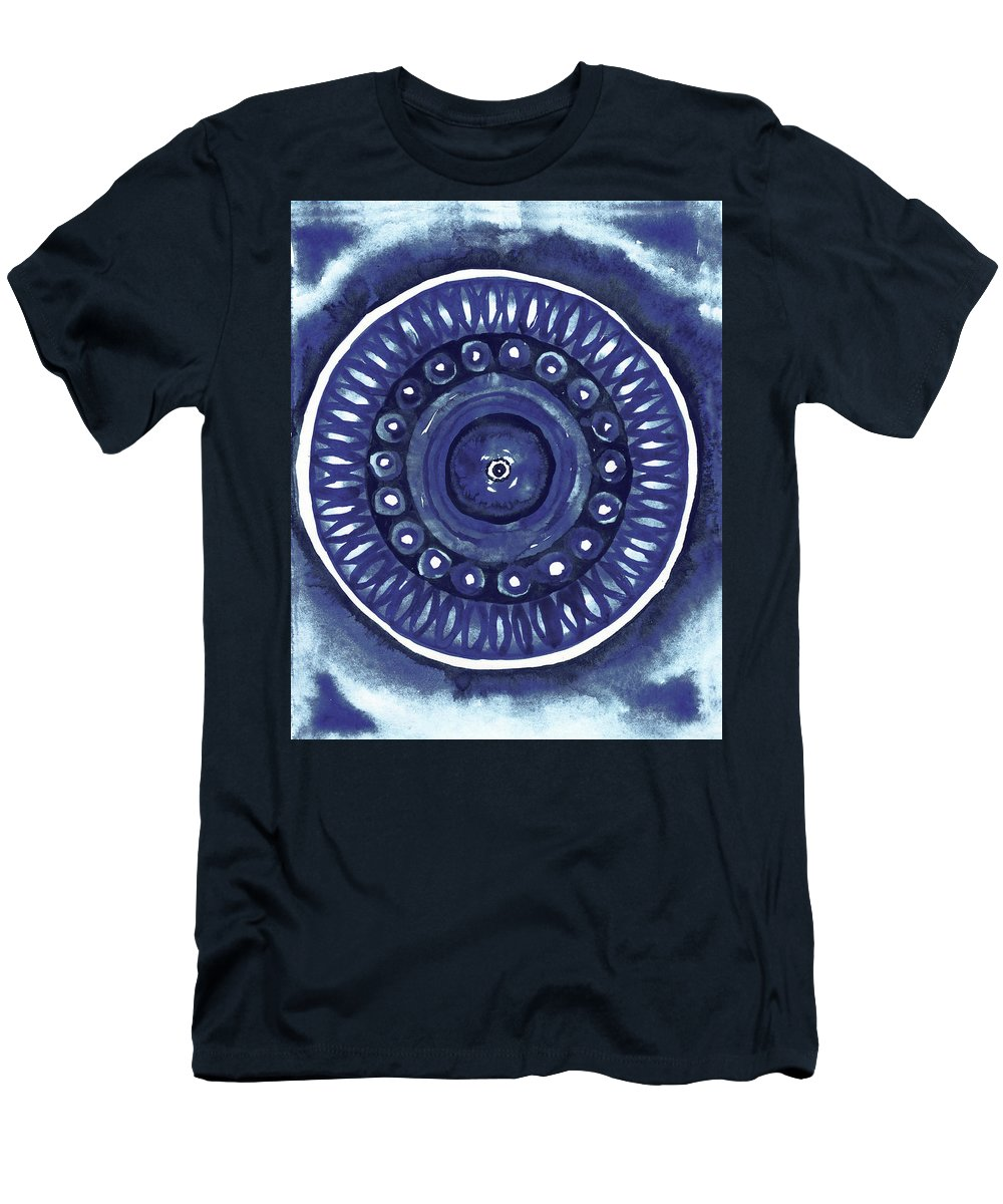 Shibori T-Shirt featuring the mixed media Shibori Circle II by Elizabeth Medley