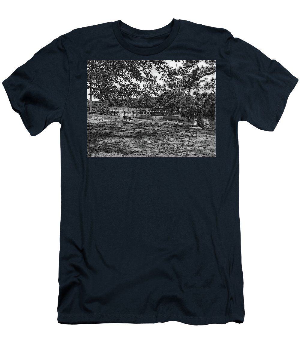 Langan Park Men's T-Shirt (Athletic Fit) featuring the digital art Solitude In Black And White by Marian Bell