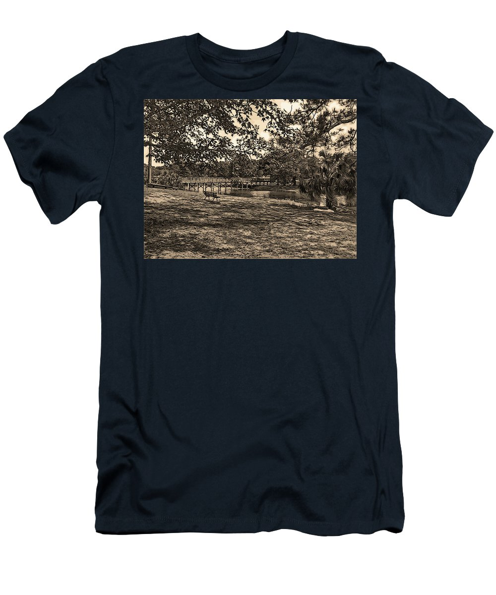 Langan Park Men's T-Shirt (Athletic Fit) featuring the digital art Solitude In Black And White With Sepia Tones by Marian Bell