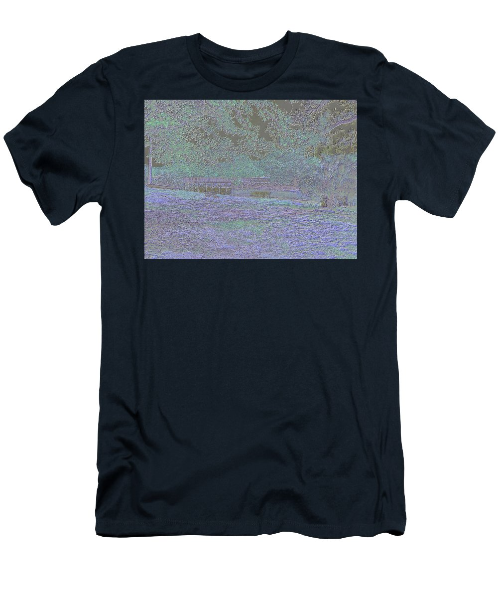 Langan Park Men's T-Shirt (Athletic Fit) featuring the digital art Solitude In Neon Glow by Marian Bell