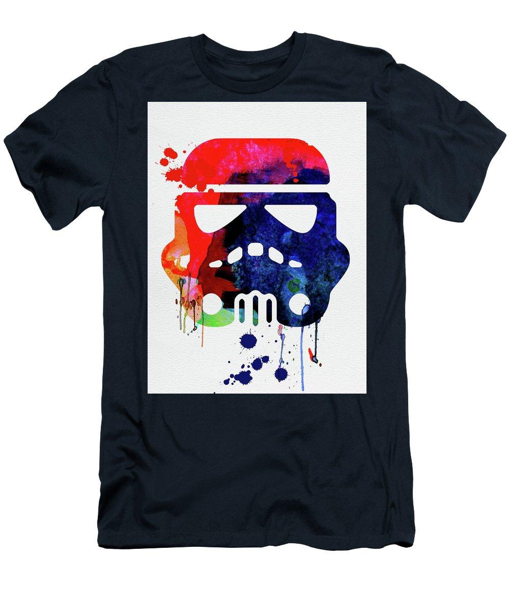 Starship Trooper T-Shirt featuring the mixed media Starship Trooper Watercolor Cartoon by Naxart Studio