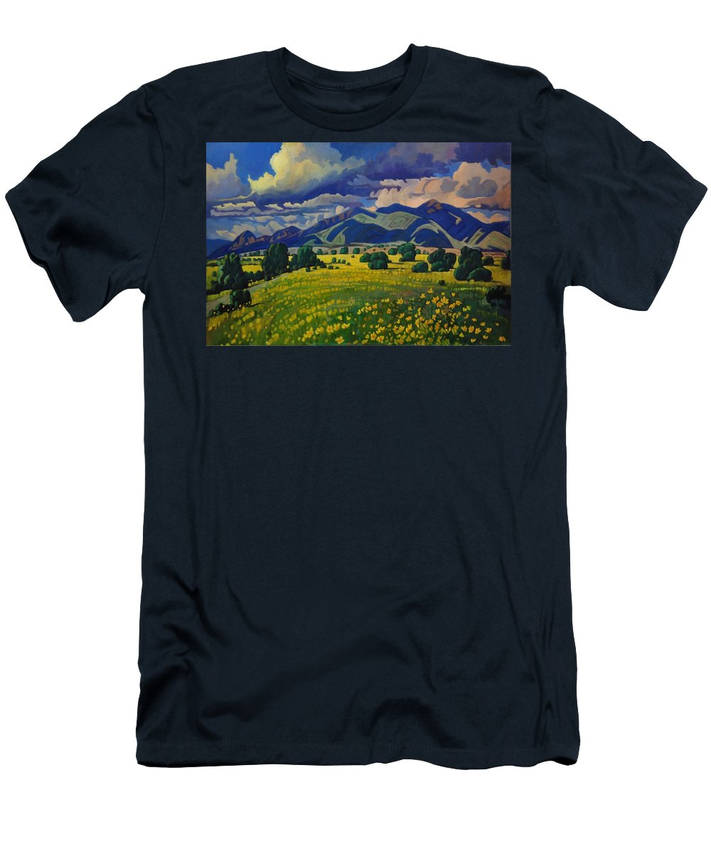 Taos Men's T-Shirt (Athletic Fit) featuring the painting Taos Yellow Flowers by Art West