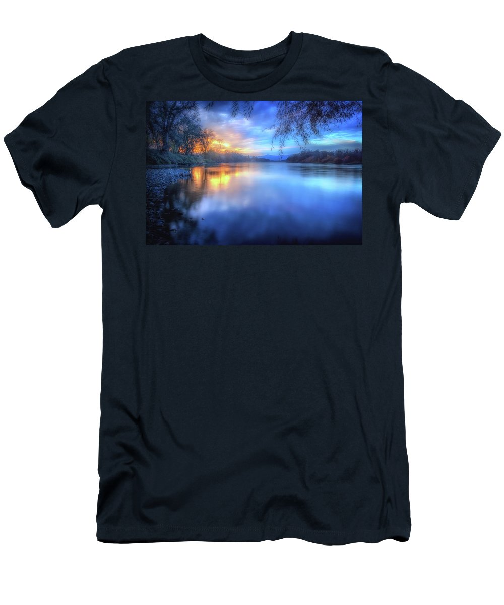 Anderson Men's T-Shirt (Athletic Fit) featuring the photograph The Last Light Sunset On The Sacramento River by Marnie Patchett