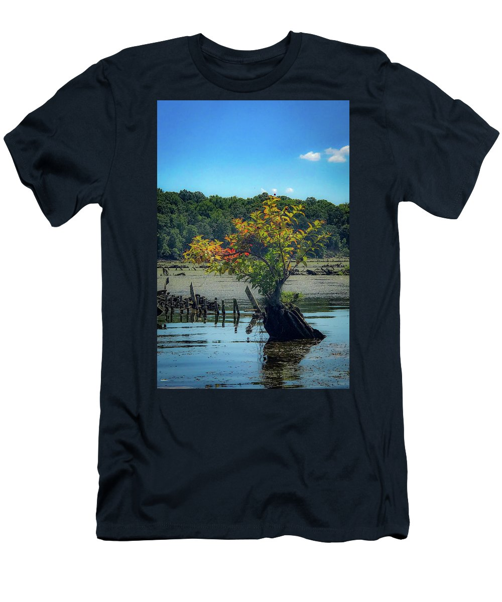 Mallows Bay Men's T-Shirt (Athletic Fit) featuring the photograph Tree In Mallows Bay by Lora J Wilson
