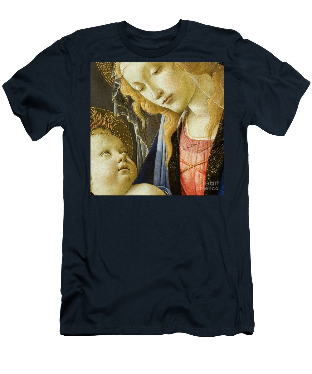 Our Lady Men's T-Shirt (Athletic Fit) featuring the painting Virgin And Child Renaissance Catholic Art by Tina Lavoie