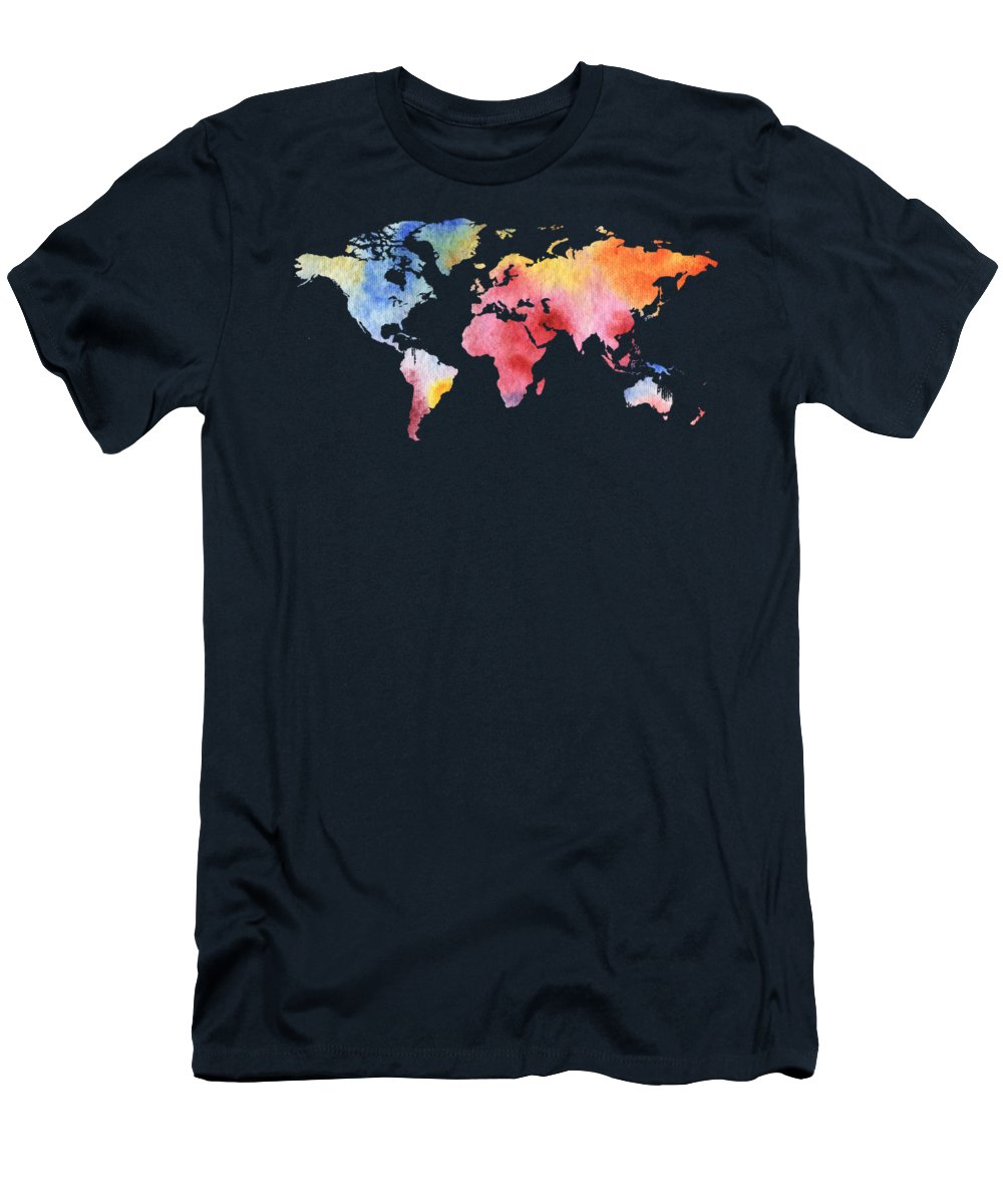 Rainbow T-Shirt featuring the painting Watercolor Silhouette World Map Colorful Png Iv by Irina Sztukowski