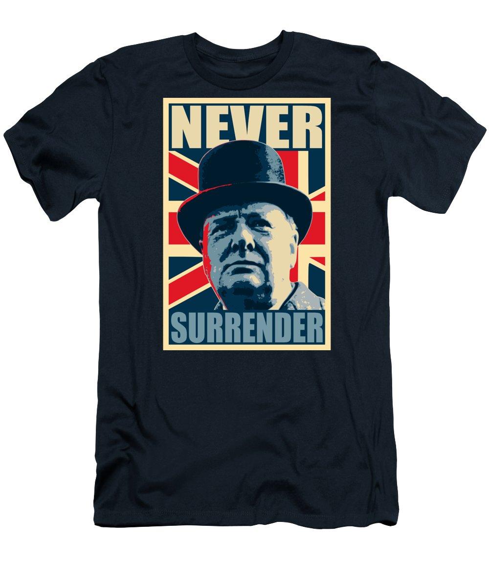 Winston Churchill T-Shirt featuring the digital art Winston Churchill Never Surrender by Filip Schpindel