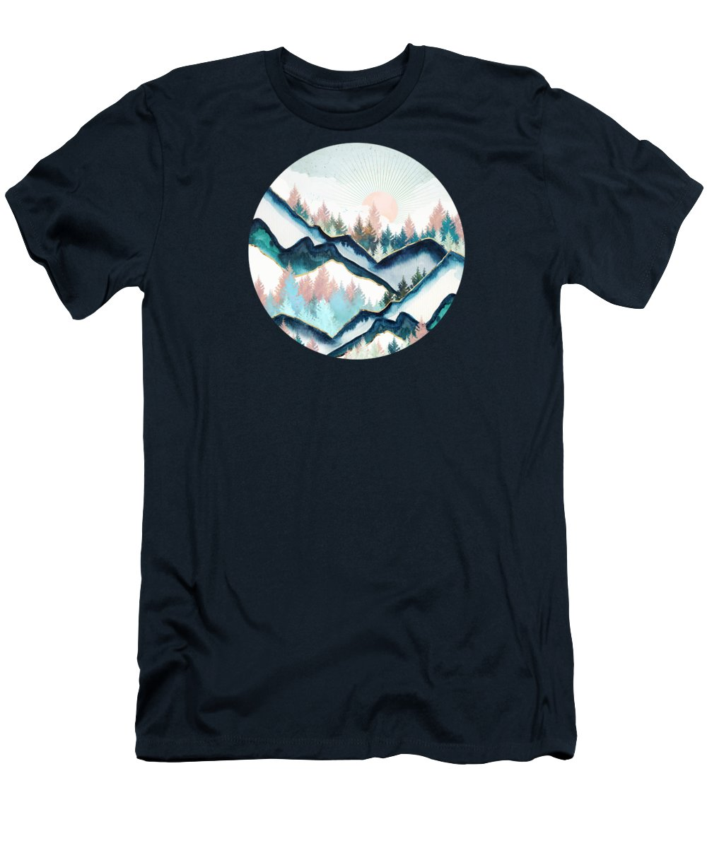 Digital Men's T-Shirt (Athletic Fit) featuring the digital art Winter Forest by Spacefrog Designs