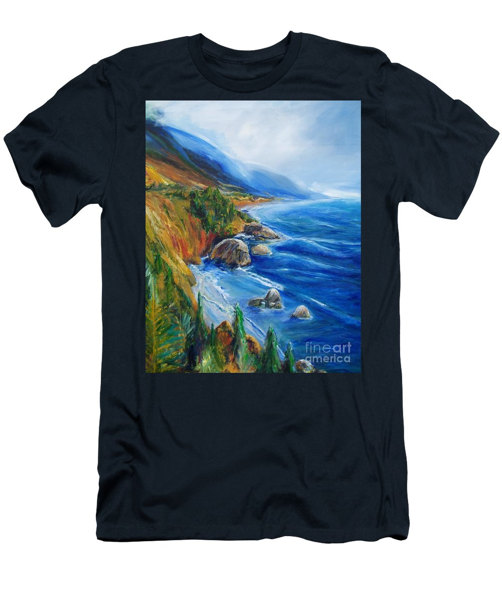 Seascapes T-Shirt featuring the painting Big Sur by Eric Schiabor