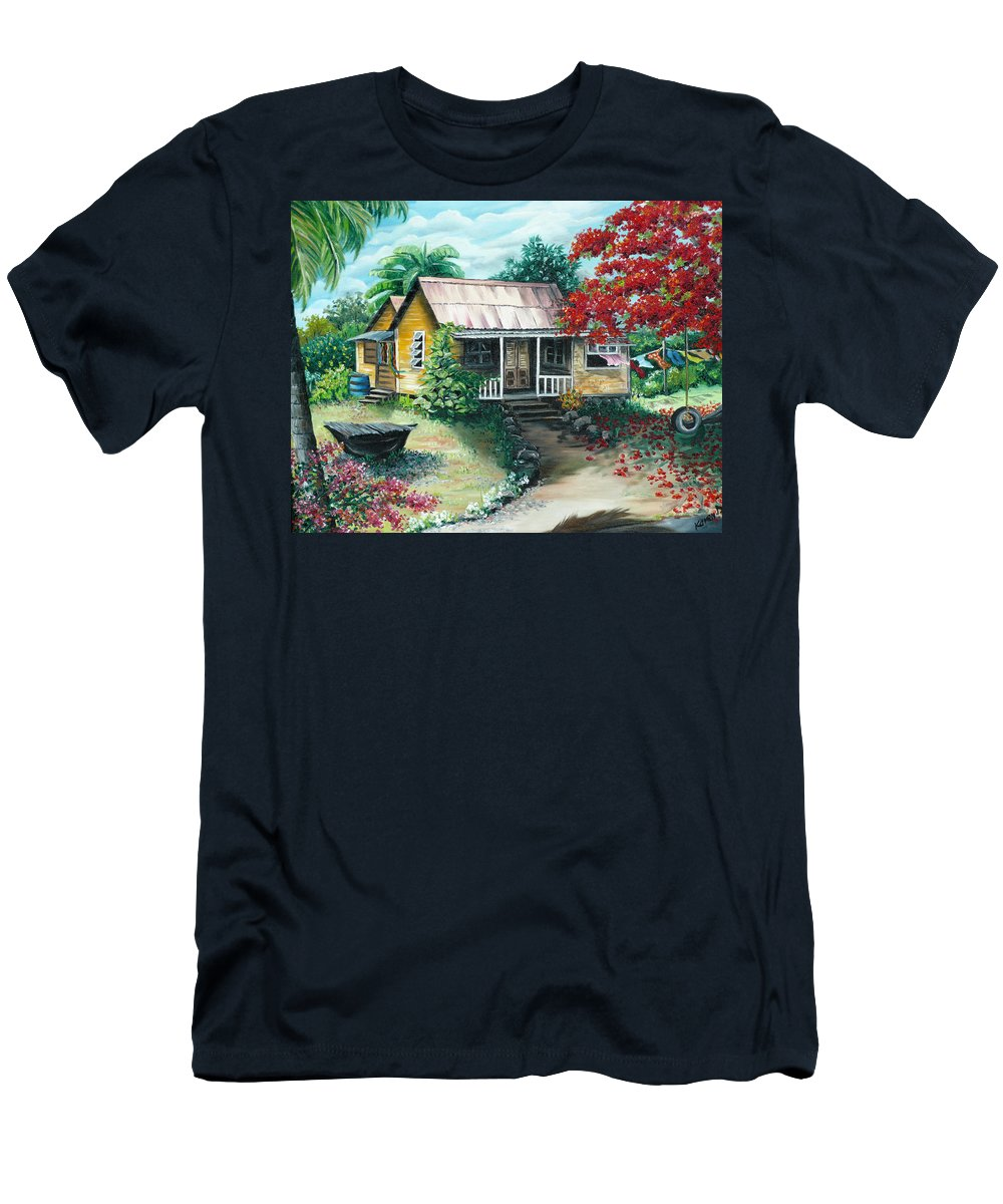 Landscape Painting Caribbean Painting Tropical Painting Island House Painting Poinciana Flamboyant Tree Painting Trinidad And Tobago Painting T-Shirt featuring the painting Trinidad Life by Karin Dawn Kelshall- Best