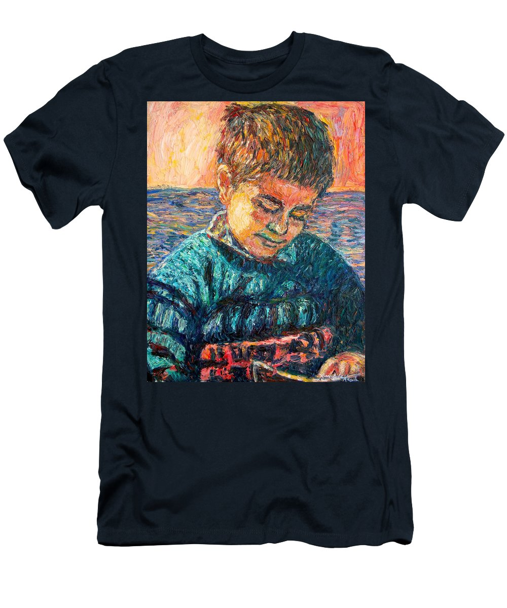 Portrait T-Shirt featuring the painting Alan Reading by Kendall Kessler